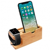 Apple Watch Ladestation, Aerb iWatch Bambus Holz Ladestation Halterung Docking Station Lager Cradle Holder W Name card Slot for Apple Watch and iPhone 8/8 plus 7/6/5,Galaxy S7/S7 Edge - 1