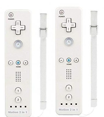AMO® X2 Motion Plus 2 in 1 Remote Multi Player Nintendo Wii Games Controller + FREE SILICONE COVER (White) - 1